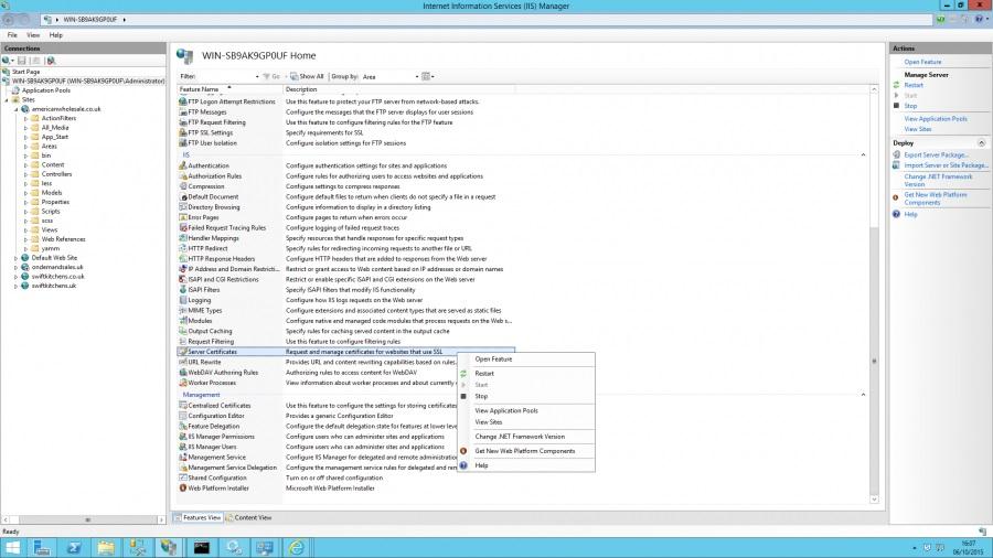 Windows Server Certificates panel